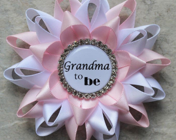 Gift for New Mom, Gift for New Grandma, Baby Shower Decorations, White, Pale Pink, Grandma to Be Pin, Mommy to Be, Baby Girl Shower Decor