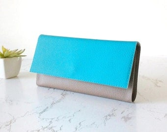 Vegan wallet for phone, card holder wallet women, blue turquoise wallet trifold wallet women, wife Christmas gift for vegan accessories