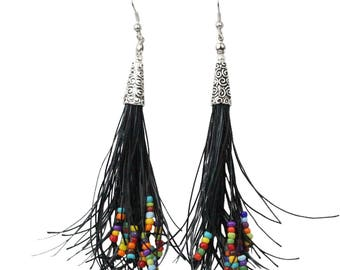 Beaded Tassel Earrings Long Bohemian Style with Black Waxed Cord, Colorful Beads and Hypoallergenic Ear Wires