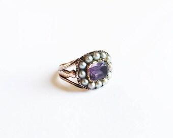 Antique Georgian 18 Karat Rose Gold Amethyst Pearl Ring Cluster Ring Closed Back Collet Set Foil Back Amethyst 18K Size 6