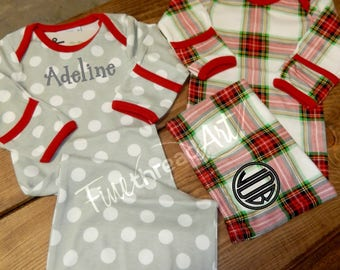 Christmas Monogram Baby Day Gown in Polka Dot or Plaid for Infant Baby Boy Girl Long Sleeve