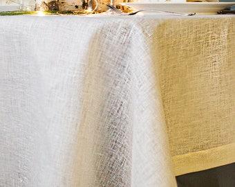 Gold Christmas TABLECLOTH Metallic Table Decor Large Ecru Tablecloth  Wedding Table Sparkly Gold Tablecloth Linen Tablecloth