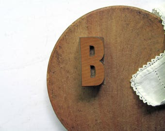 Vintage Letterpress Letter B Printers Block B Initial Alphabet Letter B Wood Type Printing Stamp B Name Graphics Home Decor Collection Art