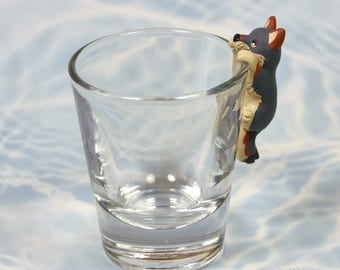 Hand Sculpted Coyote 1.5 oz Shotglass