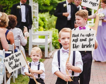 Funny Set of 3 Ring Bearer Wedding Signs | Who Has The Rings? | Think I'm Cute Just Wait For The Bride! | I'm Just Here For Cake 1441 SRW