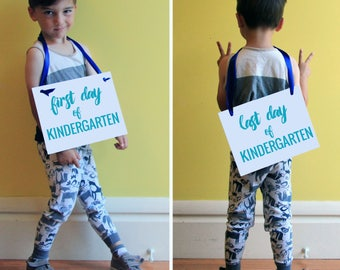 1st Day of School Banner + Last Day of School On Back Side | Kindergarten 1st Grade 2nd 3rd 4th 5th 6th | Social Media Photo Prop 1411 BB