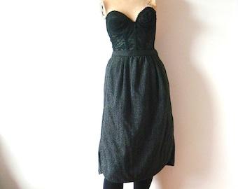 Vintage Valentino Skirt - wool pinstripe a-line - designer vintage size M