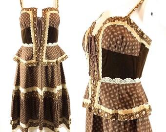 1970s Brown Calico Floral Cotton + Velvet Sundress Lace Detail, Gunne Sax