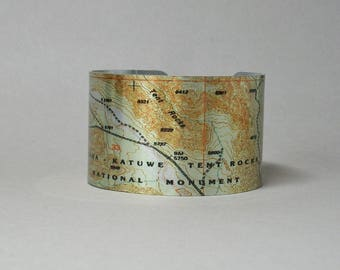 Kasha Katuwe Tent Rocks New Mexico National Park Map Cuff Bracelet Hiking Gift for Men or Women