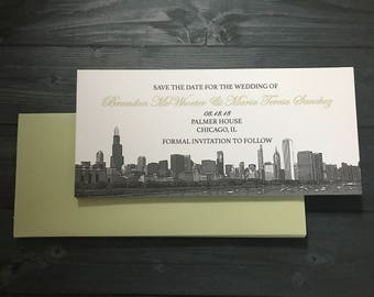 Save the Date Chicago Skyline Wedding Invitation Set of 10