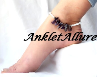 Anklet Stone Ankle Bracelet Beach Jewelry Amethyst Ankle Bracelet Anklets for Women GUARANTEED