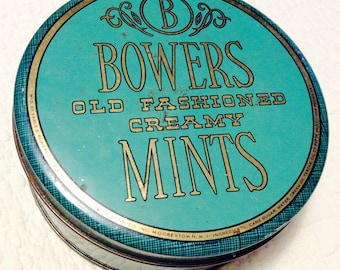 Vintage 1950s Bowers Creamy Mints Tin Container Aqua Green Teal