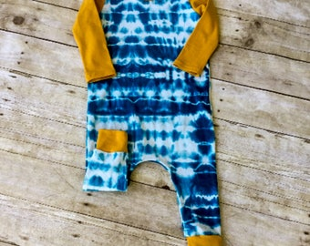 Drop Crotch Romper. Tie Dye Style Kids Clothes. Harem Romper. Trendy Kids' Clothes. Kids Hipster Style Clothes Kids One Piece Gender Neutral