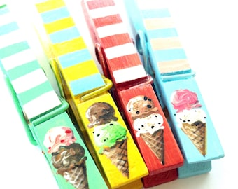 ICE CREAM CONES clothespin green pink red stripes hand painted magnetic clothespin set