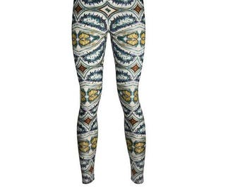 DIGITAL PRINT LEGGINGS - Unique and Colourful Illustrated legwear. Printed in uk. yoga, activewear. Sports.   Made to Order.