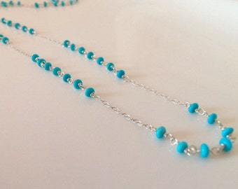 Sleeping Beauty Turquoise Natural Long Wire Wrapped Handmade Necklace with Sterling Silver