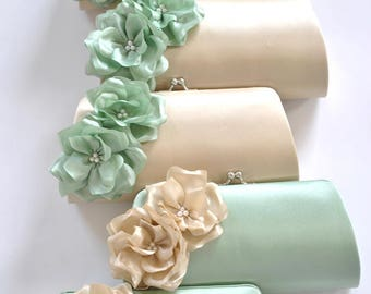 CELADON wedding - Champagne and Celadon - Bridal clutch/Bridesmaid clutch-Prom clutch- Custom clutch
