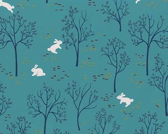 BUNNY TRAIL Stream, Into the Woods, Woodland Fabric, Rabbit, Michael Miller, Woodland Baby Quilt, Quilt Fabric, Quilting, Fabric By the Yard