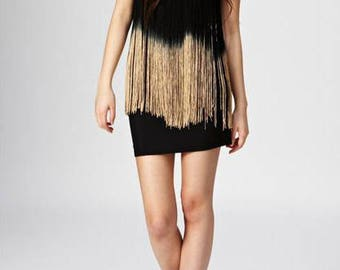 Strapless Black Dress With Gradient Black To Cream Tan Brown Fringes