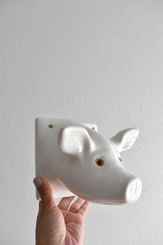 large white ceramic pig head wall mount / pig figurine / baby nursery decor