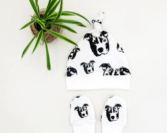 Pit Bull Organic Cotton Baby Hat And Scratch Mittens Set, Organic Baby Clothes, Pit Bull Baby Hat, Pit Bull Scratch Mittens, Eco Friendly