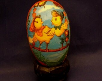 Vintage Two Chicks on a Swing Western Germany Paper Mache Lithograph Easter Egg Container, 1950s