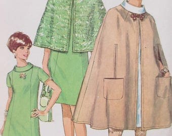 Vintage Simplicity 7544 Sewing Pattern, 1960s Cape Pattern, Bust 36, 1960s Dress Pattern, Capelet Pattern, 1960s Sewing Pattern, 60s Fashion