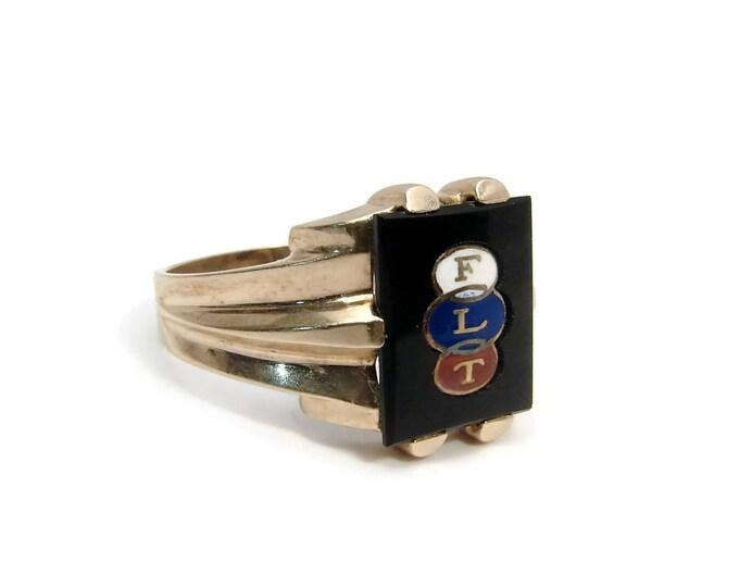 10K Gold Odd Fellows Ring, Black Onyx, FLT Enamel, Size 10, Vintage Jewelry, Yellow Gold