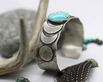 RESERVED Moon Phases Cuff.  Number Eight Turquoise Jewelry