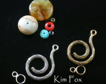 Chartres Spiral Clasp in Sterling Silver or Golden Bronze designed by Kim Fox- designed to be clasp and bail