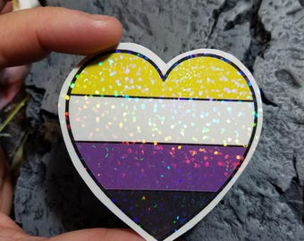 Holographic Sticker - NonBinary flag heart