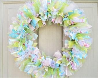 New Baby Wreath, Nursery Decor, Hospital Door Wreath, Baby Shower Decor, Newborn Baby Room Decor, New Mom Baby Gift, Pink Blue Green Yellow
