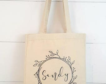Canvas Tote bag - Bridesmaid gift, Mothers day, Birthday gift, Made to order Customized Tote bag