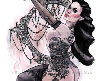 Gothic tattoo Burlesque lingerie Pin Up watercolor Art print by Carla Wyzgala Carlations