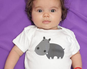 Baby boy clothes, baby girl clothes, Hippo baby bodysuit, long sleeve, short sleeve, 3 months - 18 months, baby shower gift