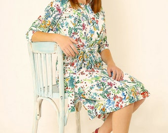 Floral midi dress,Loose fit dress,Tea length dress,Midi dress,Holiday dress,Polyester dress,Formal dress,summer loose dress,Mid length dress