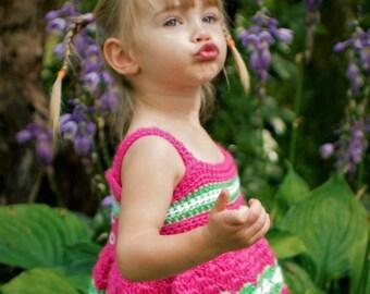 Crochet Baby Dress Pattern - 6mo, 9mo, 12mo, 2T, 3T, 4T, 5T - Garden Party Baby Dress
