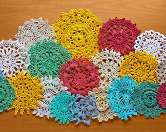 20 Doilies Hand Dyed in Wine Red, Blue, Golden Yellow, and Teal with White and Beige, Crochet Mandalas for Crafts, 2.5 to 5.5 inch Doilies