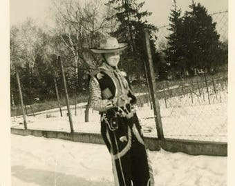 "Vintage Photo ""The Christmas Sheriff"" Snapshot Found Snow Cold Winter Weather Cowboy Costume Teenage Teen Boy Child Kid Old Photograph - 41"