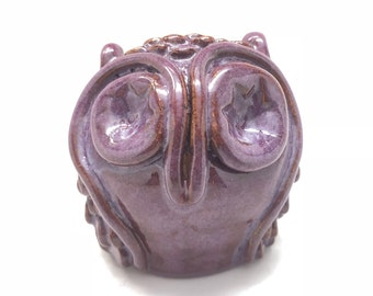 Handmade Owl Rattle in Purple, Ceramic Owl Figure