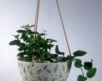 Large Hanging  Planter  Ceramic pottery  Hotess gift Wedding gift Hand painted Ready to ship