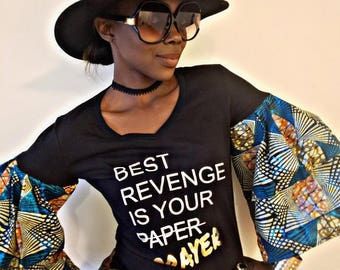 Lady Vee Tee Gold Dust Tribal Print Ruffle Sleeves 'Best Revenge is your Paper/PRAYER'