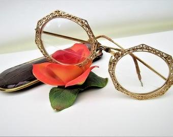 Vintage Gold Filigree Eyeglasses | Oversized Glasses | Gold Framed Eye Glasses | Tura Eyewear | Octagon Glasses – As Is