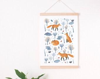 winter nursery print, Fox art print, fox nursery print, woodland fox nursery, winter illustration, woodland nursery decor, woodland nursery