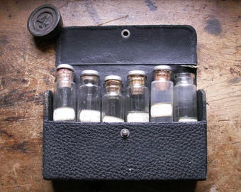 Vintage WWII Era Pocket Sized Leather Medical Kit with Cork Topped Glass Bottles