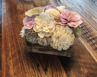 Lavender Sola Wood Flower Centerpiece- Farmhouse Decor- Rustic Decor- Wedding Centerpiece