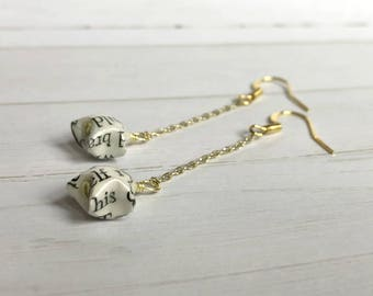 Literary Origami Lucky Star Gold Chain Earrings