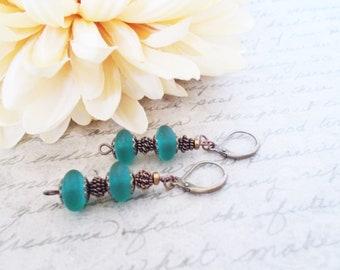 Teal Earrings Sea Glass Jewelry, Boho Earrings Beaded Dangle Earrings, Leverback Earrings, Gypsy Earrings Handmade, Birthday Gift for Mom