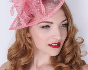 "Pink Fascinator - ""Penny"" Mesh Hat Fascinator with Mesh Ribbons and Feathers"