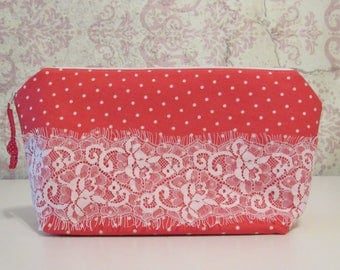 Dots & Lace Lingerie Travel Bag // Red and White, Retro
